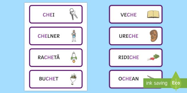 Grupul de litere che Cartonașe cu cuvinte ilustrate