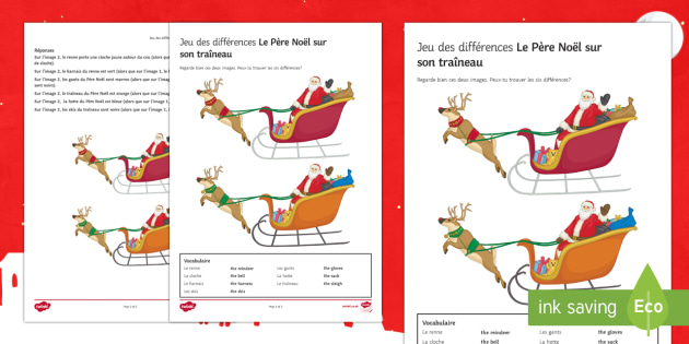 Santa on His Sleigh Spot the Differences Activity Sheet French