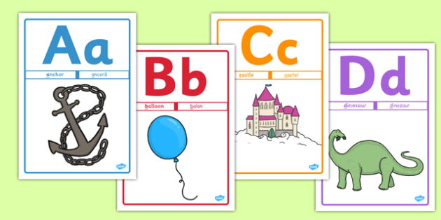 Alphabet Picture Posters Mnemonic Romanian Translation - romanian, Alphabet freize, display, poster, Initial sound posters, Sound picture cards, Phonics,  DfES Letters and Sounds