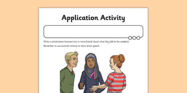 Inverted Commas Application Activity Sheet - GPS, direct speech, speech marks, dialogue, worksheet