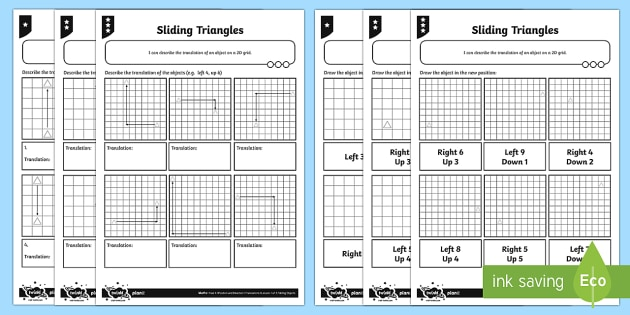 sliding triangle translations differentiated worksheet. Black Bedroom Furniture Sets. Home Design Ideas