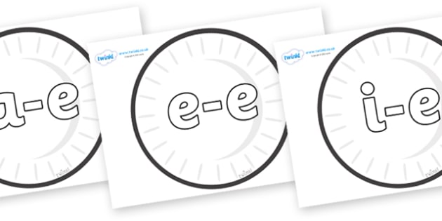 Modifying E Letters on Circles (Plain) - Modifying E, letters, modify, Phase 5, Phase five, alternative spellings for phonemes, DfES letters and Sounds