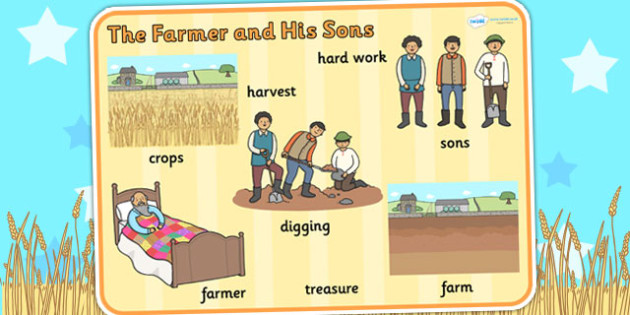 The Farmer and His Sons Word Mat - aesops fables, keywords, story