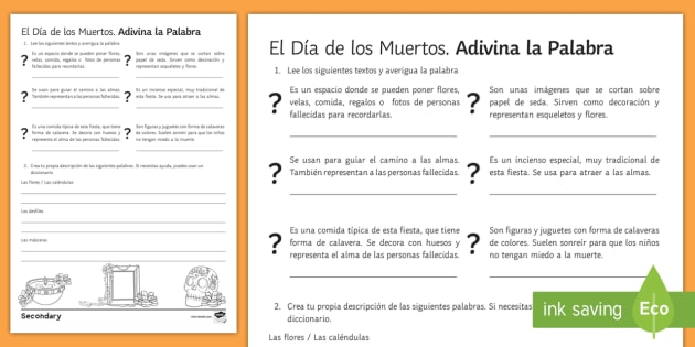 ks3 mexican day of the dead guess the word worksheet worksheet spanish. Black Bedroom Furniture Sets. Home Design Ideas