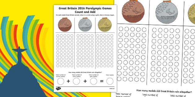 Great Britain Paralympics Games Medal Count and Add Activity Sheet, worksheet