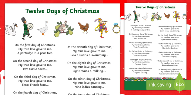 12 Days Of Christmas Lyrics.12 Days Of Christmas Twelve Days Song Lyrics Sheet