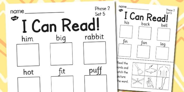 I Can Read Phase 2 Set 5 Words Activity Sheet - phase 2, activity, worksheet