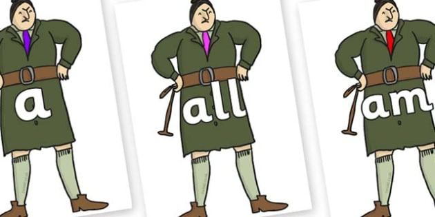 Foundation Stage 2 Keywords on Mrs Trunchbull to Support Teaching on Matilda - FS2, CLL, keywords, Communication language and literacy,  Display, Key words, high frequency words, foundation stage literacy, DfES Letters and Sounds, Letters and Sounds,