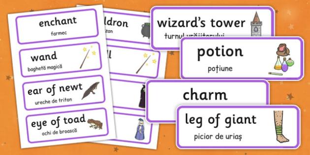 Magic Word Cards Romanian Translation - romanian, halloween, hallowe'en, magic, word cards, word, cards