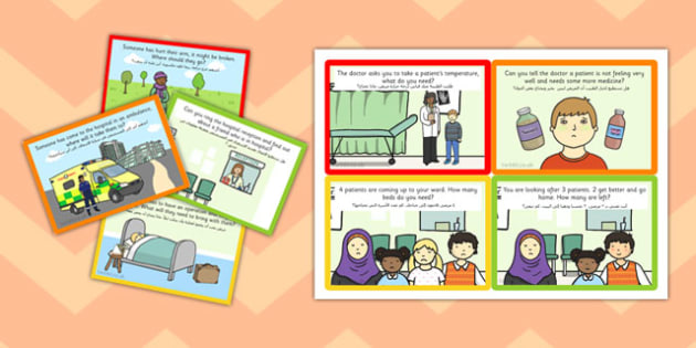Challenge Cards Hospital Role Play Arabic Translation - arabic