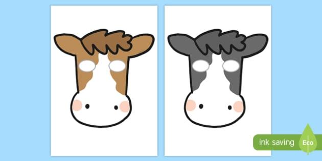 Black and White Cow Mask Printable