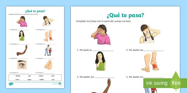Illnesses Fill in the Blanks Worksheet / Worksheet - Spanish