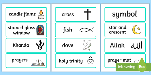 Religious Symbols and Beliefs Word Cards - visual aid, keywords