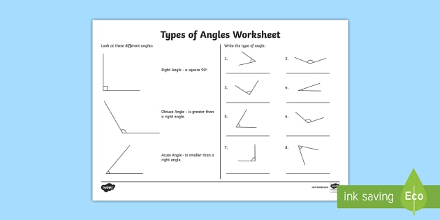 Acute and Obtuse Angles Worksheet - Types of Angles Activities