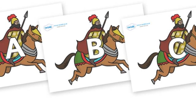 A-Z Alphabet on Egyptian Warriors - A-Z, A4, display, Alphabet frieze, Display letters, Letter posters, A-Z letters, Alphabet flashcards