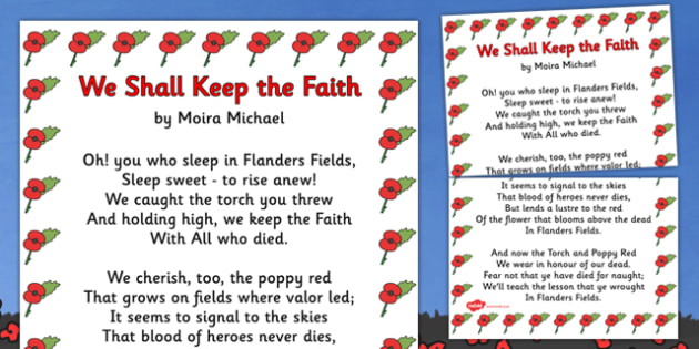 Remembrance Day PoemWe Shall Keep The Faith A3 - Remembrance Day, poetry, poem,We Shall Keep The Faith, Moira Michael, banner, posters, sign, A3, 11th November