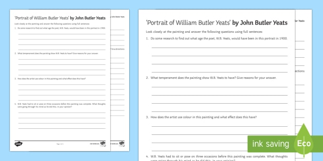 Portrait of William Butler Yeats Activity Sheet - Irish Art Resources, art strands, display resources, art appreciation, activity sheet, artist, perso