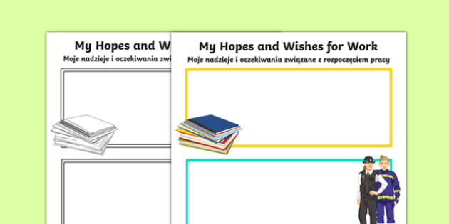My Hopes and Wishes for Work Activity Sheet Polish Translation - polish, Transition Planning, Work Place, Special Educational Needs, Jobs, Work, Hopes and Aspiration, worksheet