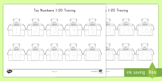 Toy Numbers 1-20 Tracing Worksheet / Worksheet