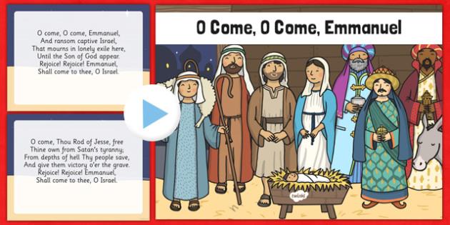 O come O come Emmanuel Christmas Carol Lyrics PowerPoint - o come o come emmanuel, christmas carol