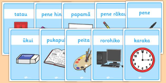 Classroom Equipment Labels Te Reo Maori - nz, new zealand, classroom, equipment, labels, Te Reo Maori, class