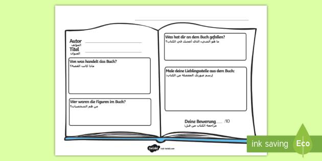 Deutsch-Arabisches Buchkritik Arbeitsblatt - Arabisch