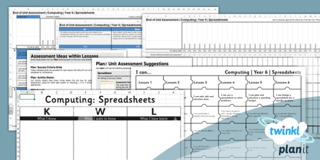Computing: Excel Spreadsheets Year 6 Unit Assessment Pack