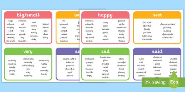 interesting words vocabulary cards - english resource