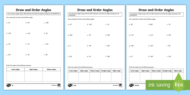 Draw and Order Angles Differentiated Worksheet / Worksheets ...