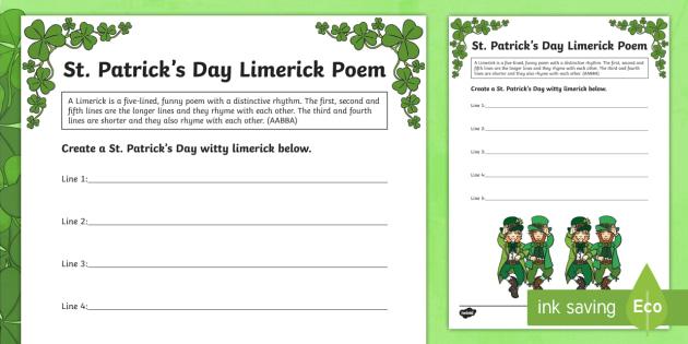St. Patrick\'s Day Limerick Poem Worksheet / Activity Sheet
