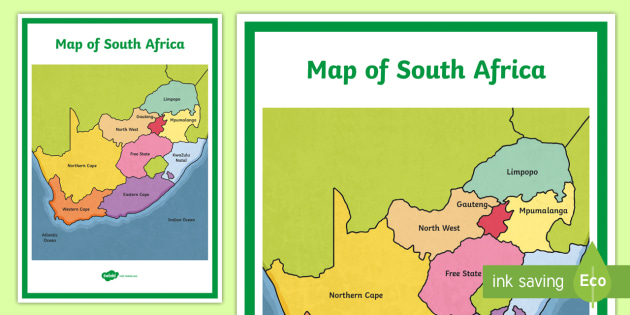 Map of South Africa Display Poster - Map of Africa - map of ...