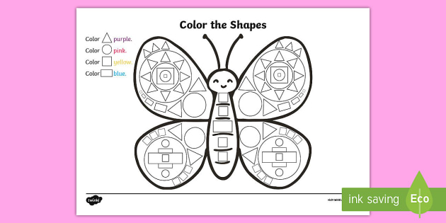 color the shapes butterfly worksheet activity sheet usa early childhood science life cycles - Butterfly Color Sheet
