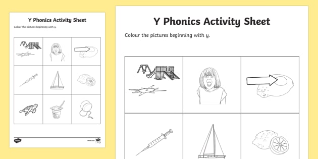y Phonics Colouring Worksheet / Activity Sheet - Republic of Ireland, Phonics Resources, phonics assessment, sounding out, initial sounds, colouring,