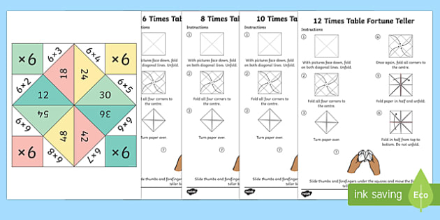 Times Tables Fortune Teller Activity Pack - times table, fortune