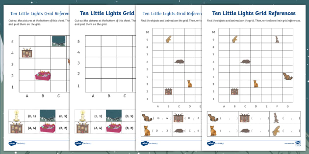 Position and direction primary resources positional page 1 ten little lights grid references activity sheets negle Gallery