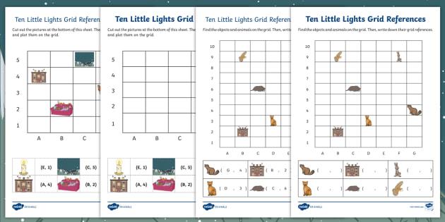 ten little lights grid references worksheet activity sheets. Black Bedroom Furniture Sets. Home Design Ideas