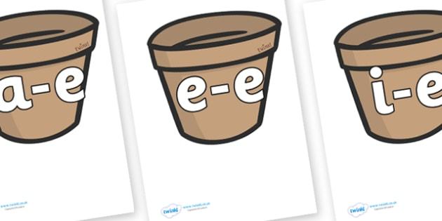 Modifying E Letters on Flower Pots - Modifying E, letters, modify, Phase 5, Phase five, alternative spellings for phonemes, DfES letters and Sounds