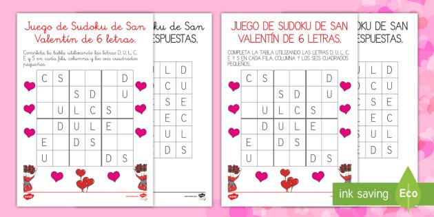 de Sudoku de San Valentín de 6 letras Juego - San Valentín, juego, sudoku, letras,Spanish