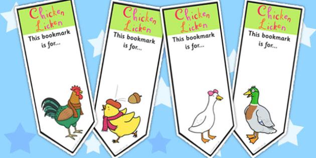 Chicken Licken Editable Bookmarks - book marks, reward, stories