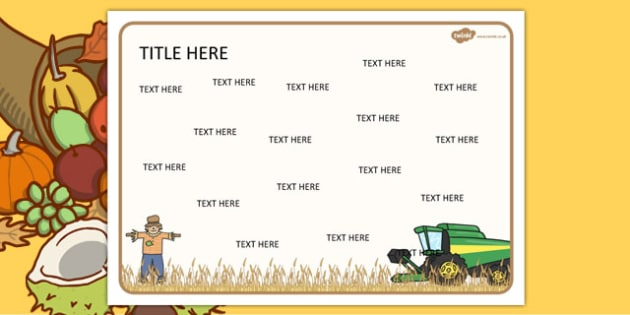 Harvest Harvest Themed Editable Word Mat - literacy, words, mats