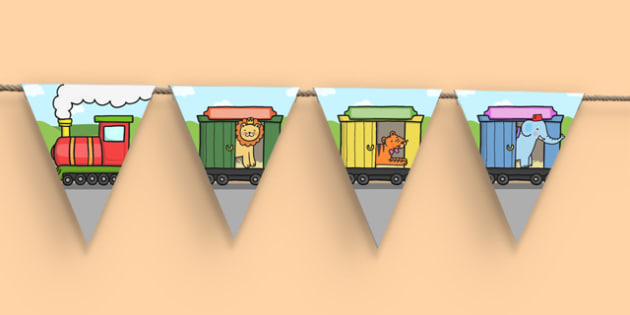 Animals Train Display Bunting - bunting, decorations, display, display bunting, animals, animals on trains, train display bunting, transport display bunting, animals on trains on bunting, classroom decorations, for decorating your classroom