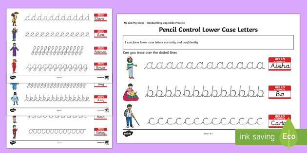ks1 me and my name lower case letters pencil control worksheet worksheets. Black Bedroom Furniture Sets. Home Design Ideas