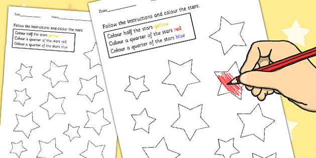 Fractions Colouring Sheets Stars - maths, colour, fraction, star