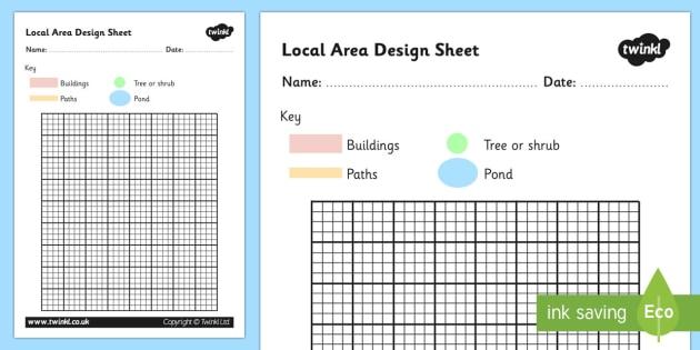 Local Area Design Sheet - local area, design sheet, design worksheet, planning worksheet, location, local area planning worksheet, grid worksheet, design