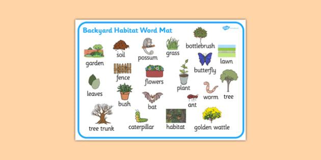 Backyard Habitat Word Mat (teacher made)
