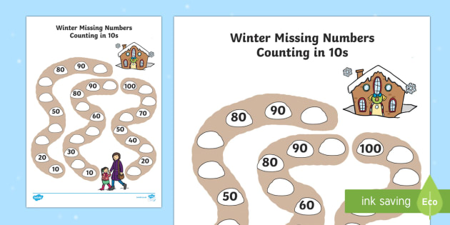 Winter Path Missing Numbers Counting in 10s Activity Sheet