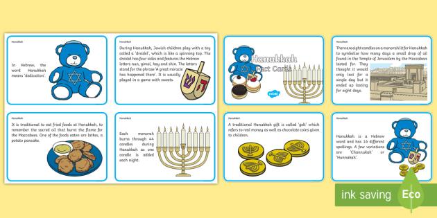 Hanukkah Display Fact Cards - Hanukkah, Display, Fact, Cards