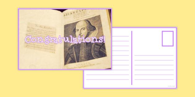 Reward Postcard Shakespeare Folio - reward, postcard, shakespeare, reward postcard, praise