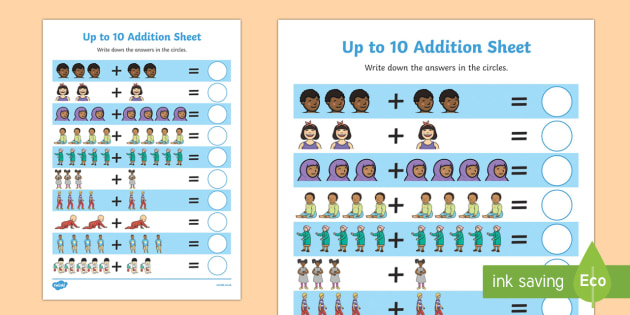My Family Up to 10 Addition Sheet