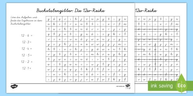 Buchstabengitter: Die 12er Reihe Arbeitsblatt - Arbeitsblatt
